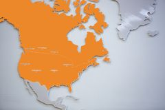 Map of united states and north america, with selective focus. Map of north america united states of america stand stock photo