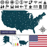 Map of United States Royalty Free Stock Image