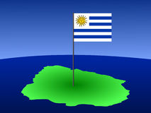 Map of Uruguay with flag Stock Photo