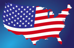 Map of the US. On the dark blue background Stock Photography