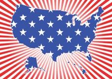 Map of US. On burst background Royalty Free Stock Images