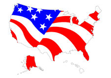 Map of US with flag. Map of US with American flag Royalty Free Stock Photos