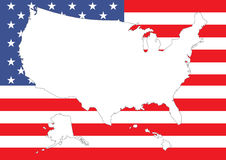 Map of US with flag. Map of US with American flag Royalty Free Stock Image