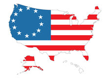 Map of US with flag. Map of US with American flag Stock Images