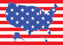 Map of US with flag. Map of US with American flag Royalty Free Stock Images