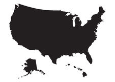 Map of US with flag Stock Image