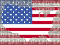 Map of USA with 10 dollar bill Stock Images