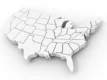 Map of USA. On white background. 3d Royalty Free Stock Photo