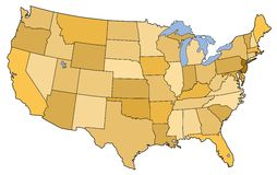Map of the USA Royalty Free Stock Photography