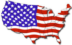 Map of USA. With state lines flag colors and shadow Royalty Free Stock Images