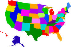 Map of usa. A colorful map of the usa