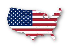 Map of the USA with american flag. Stock Image
