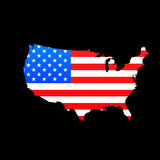 Map of USA with American flag Royalty Free Stock Photo