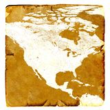 Map of USA blank in old style. Brown graphics in a retro mode on ancient and damaged paper.  Basic image of earth courtesy NASA. Royalty Free Stock Photos