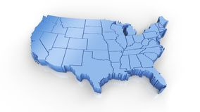 Map of USA blue. Formed by individual states falling from top to bottom on white. stock illustration