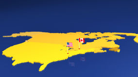 Map of USA and Canada with national flags Royalty Free Stock Photos
