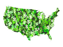 Map of USA with dollar symbols. Map of USA with collage of colourful dollar symbols illustration Stock Photography