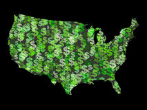 Map of USA with dollar symbols. Map of USA with collage of colourful dollar symbols illustration Stock Photos