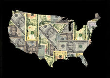 Map of USA with dollars. Map of USA with American dollars bills illustration Royalty Free Stock Images