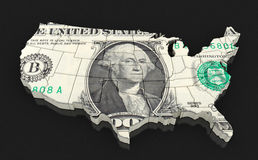 Map of USA with dollars Stock Images