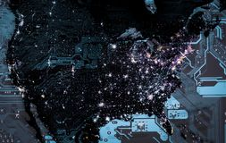 Map of USA with electronic circuit. Contour map of United States with a technological electronics circuit.  Elements of this image furnished by NASA stock images