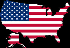 Map of USA with the flag. A map of the United States with the flag on it Stock Photos