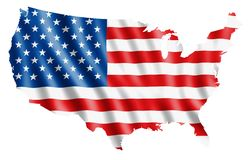 Map of USA with flag. Rendered Map of USA filled with a waving flag Royalty Free Stock Images