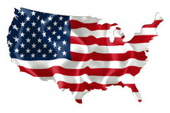 Map of USA with flag. Map of USA (American Flag) with waving flag isolated on white Royalty Free Stock Photography