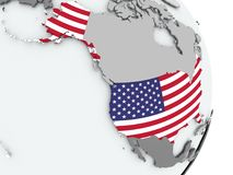 Map of USA with flag Royalty Free Stock Image
