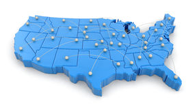 Map of USA with flight paths. Image with clipping path Stock Images