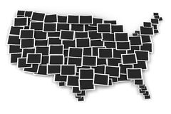 Map of USA formed by blank picture frames Royalty Free Stock Image
