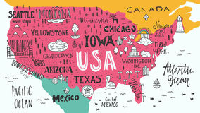 Map of USA Royalty Free Stock Photo