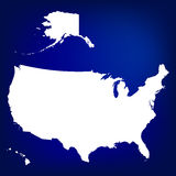 Map of USA including Alaska and Hawaii. Blank similar USA map isolated on blue background Stock Photography