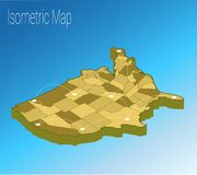 Map America isometric concept. Royalty Free Stock Images
