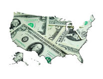 Map of USA made from dollars Stock Image