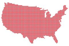 Map of the USA made of hearts vector illustration