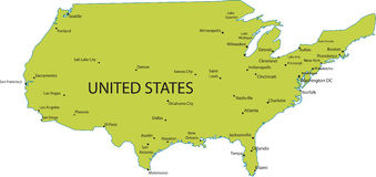 Map of USA with major cities Stock Photography