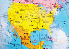 Map of USA and Mexican Stock Image