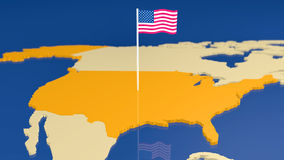 Map of USA with national flag Stock Images