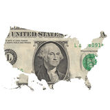 Map of the USA on a one dollar bill Stock Image