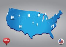 Map of USA with people Royalty Free Stock Photo