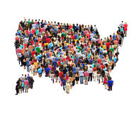 Map of USA with people isolated. Map of USA with crowd of different people isolated on the white Royalty Free Stock Photos