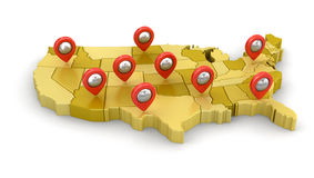 Map of USA with Pointers. Image with clipping path Stock Images