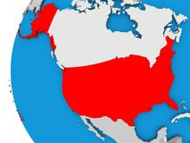 Map of USA on political globe. USA in red on political globe. 3D illustration Royalty Free Stock Photography