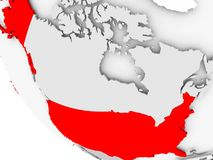 Map of USA in red. USA in red on simple grey political globe with visible country borders. 3D illustration Stock Images
