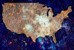 Map of USA in rust. Concept of rusting US map as a ecological warning sign Royalty Free Stock Image