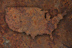 Map of the USA on rusty metal Stock Photo