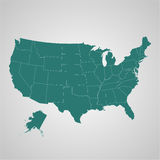Map of USA with separable borders in vector art Stock Image