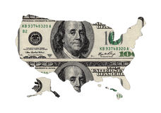 Map of USA shaped by USD. Paper currency Royalty Free Stock Images