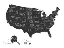 Map of USA with state abbreviations. Map of United States od America, aka USA, with US states abbreviation zip codes. Flat simplified dark grey vector map with Stock Images